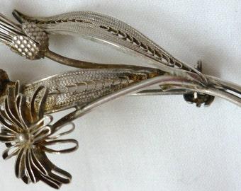 Antique silver Brooch / 800Ag Flowers Brooch