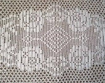Wedding crochet doily, Vintage Crocheted Doily,  White roses,   Rectangular, Table Doily,  Crochet Large doily,  Coffee Table Setting