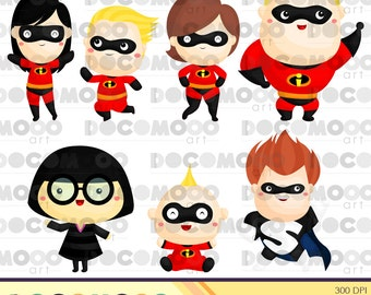 Buy 1 Get 1 !! Family Heroes Clipart / Digital Clip Art for Commercial and Personal Use / INSTANT DOWNLOAD