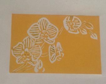 Orchid Original Lino Print, decorative botanical print