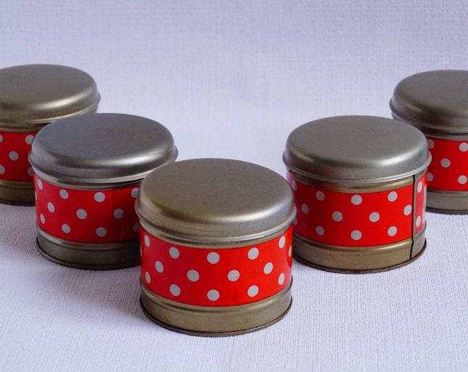 Vintage red kitchen tins - Set of 5 jars storage - Soviet kitchen containers - Red polka dot - Soviet Retro - Christmas gift