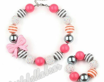 Sweet Bow Bubblegum necklace in grey/pink