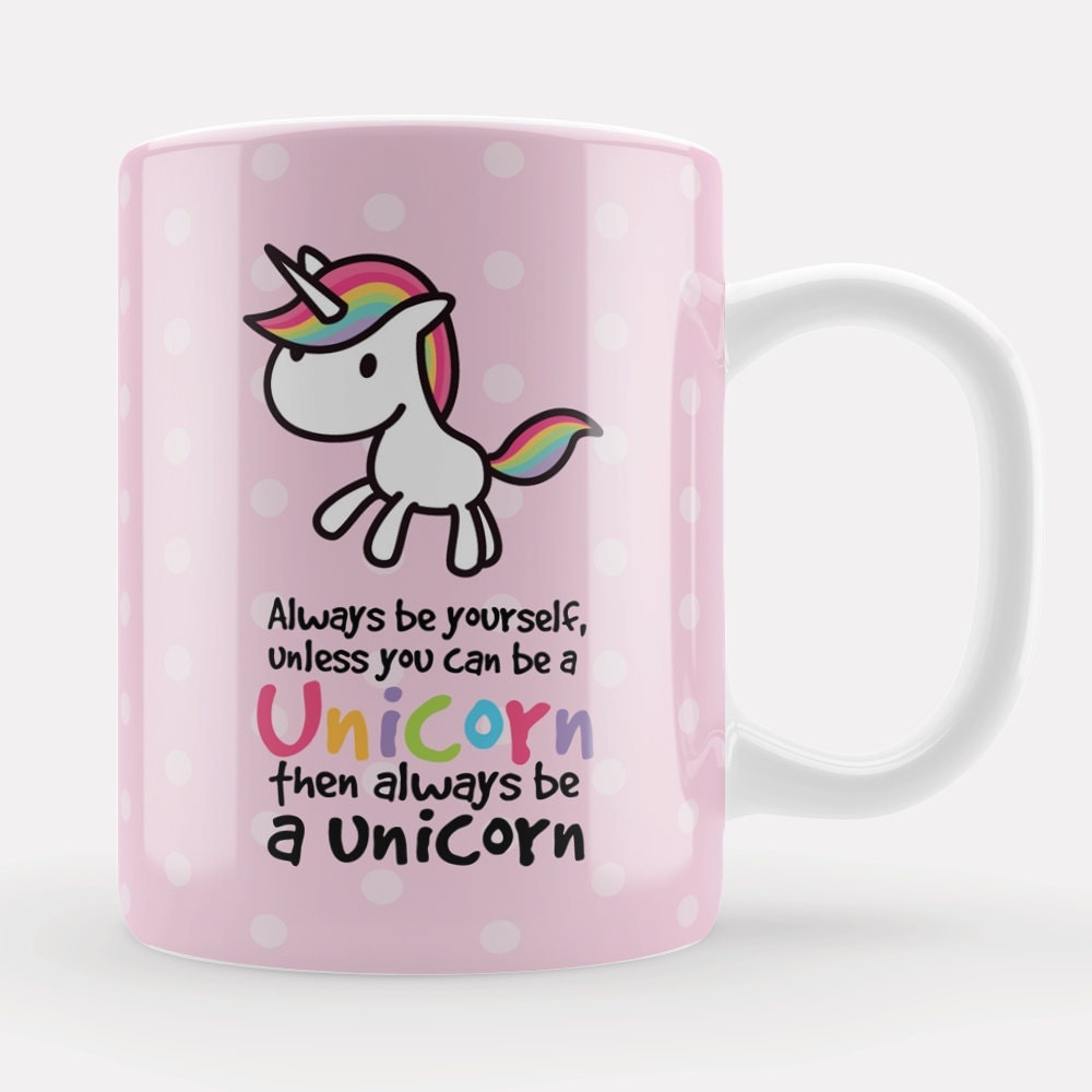 Pink unicorn mug cute pink kawaii always be a unicorn gift for Stickers pared baratos