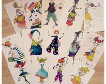 """Collection de 14 cartes """"Les petites bonne-femmes""""."""