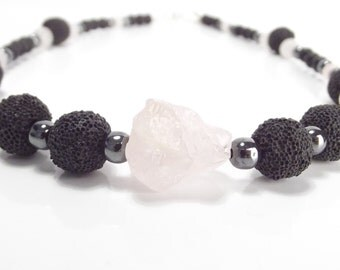 Gemstone necklace, necklace - Rose Quartz, hematite, lava and agate with 925 Silver