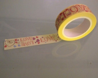 Washi tape, adhesive tape with love for decorating, gift wrapping, scrapbooking