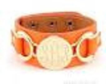 Monogrammed leather bracelet