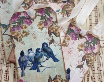 Blue Bird Tags/Vintage Style Gift Tags/Bird Gift Tags/Vintage Style Bookmarks/Blue Bird Book Marks, French Inspired Tags/Set of 5