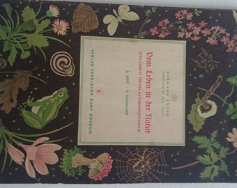 Budde: of life in nature, students handle natural science lessons, 5th grade. 1952 old book, natural history, school book, illustrations