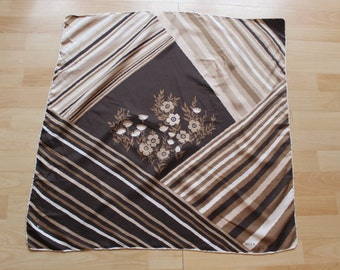 100% silk HILCA scarf Brown with flowers