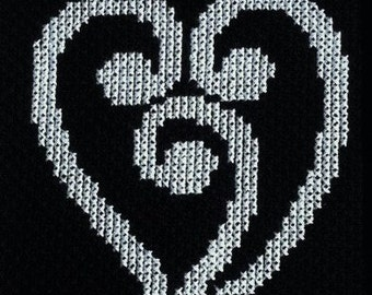 New Zealand Maori Heart Koru Design Cross Stitch Pattern Instant PDF Download