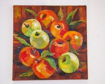 Kitchen Still Life Apple Kitchen still life fruit Realistic painting fruit Autumn still life on canvas palette knife Red and green apple oil