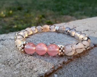 PInk quartz bracelet Dragon Veins Agate bracelet for her Gray dragon veins jewelry friendship bracelet Woman gift for sister Pink bracelet