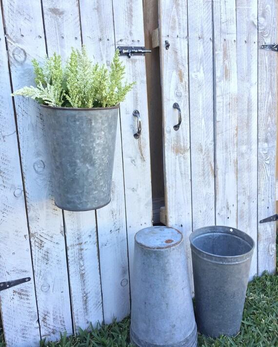 Vintage galvanized hanging bucket for Galvanized well bucket