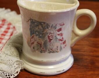 Vintage porcelain shaving mug,American Indian and American Flag.