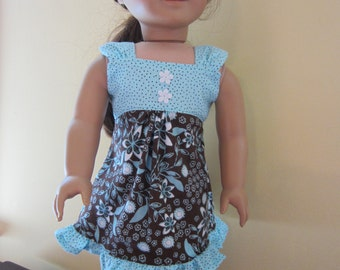 American Girl Doll Clothes - Teal and Brown Summer Tea Dress