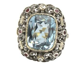 7.38 ct Aquamarine & Enamel Estate Ring - Vintage 1930's