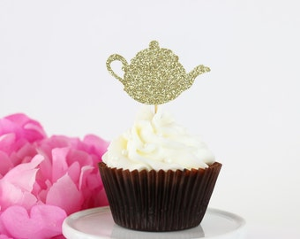 Glittery Tea Party Cupcake Toppers (Set of 12) | Teapot Cupcake Toppers | Tea Party | Bridal Shower | Tea Party Decor | Bridal Shower Tea