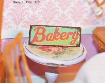 Hand Made Dollhouse Miniature Bakery Sign, 1:12 Miniature antique sign/ Dollhouse miniatures