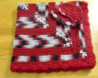NEW Handmade Crochet Baby Blanket and Hat/Beanie Set - Colors Red, Black & Gray Variegated - A Wonderful Baby Shower Gift!! - SEE NOTE!