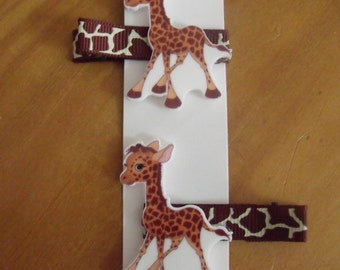 Handmade boutique set of 2 Giraffe Hair Clips on lined double prong alligator clips