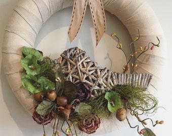 Wreath, Cane, Bird, Calico, Berries, Ribbon