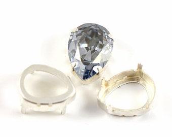 Last 9 pcs Settings for Swarovski Fancy Stone Drop 4320 18 mm (silver plated brass)