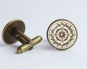 Compass jewelry Nautical jewelry Cufflinks antique compass Rose of Wind Journey jewelry Graduation gift Vintage style Travel Geographer
