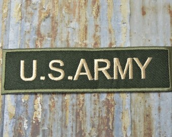 Army Military Camoflage Green Rectangle American Forces  Iron On Sew On Patch Transfer