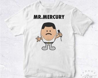 NEW Tee Shirt Mr Mercury BIO HANDMADE Mister Monsieur Cartoon Comic Singer Rock Music Rip Tumblr Pop Blues Rock Legend Star Tv Festival