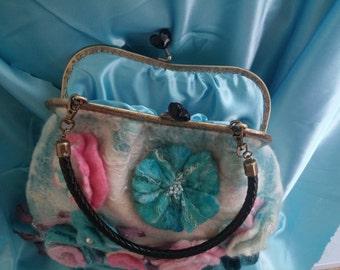 Handmade purse, handmade, wet felting, hand bag, flowers