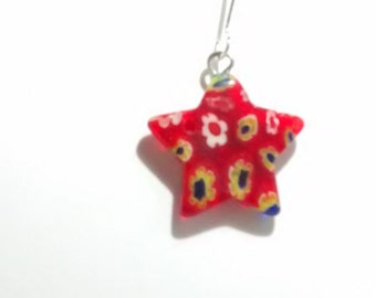 A pair of millefiori glass star shaped earrings (No11)
