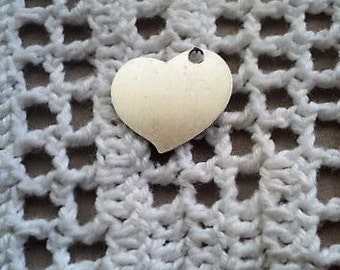 "3/4"" x 5/8""HEART SHAPED CHARM,made to order,custom made,personalized,unique gift idea,hand stamped,engraved"