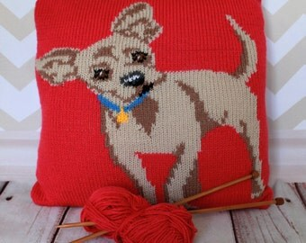 Knitting Pattern PDF Download - Chihuahua Pet Portrait Pillow Cushion Cover