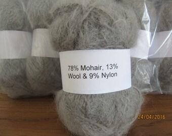 Silver Grey Mohair Yarn Mohair/Wool/Nylon 78/13/9 50g ball