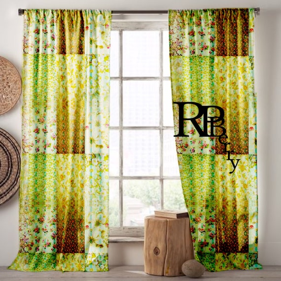 bohemian gypsy curtains moroccan drapes yellow blue green vintage