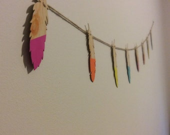 Multi colored feather banner