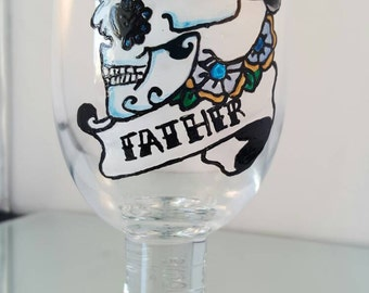 Gifts for men. Handpainted personalised design glass.