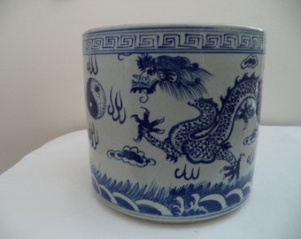 Chinese Blue and White Brush Pot with marks to base