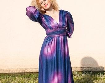 VINTAGE WOMEN'S Maxi dress. Purple colour. Size 38-40.