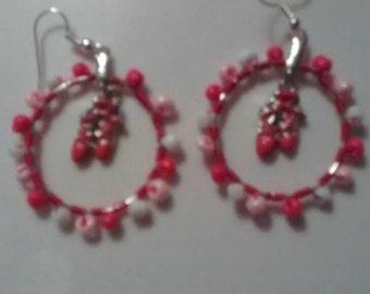 Pink ballet slippers earrings