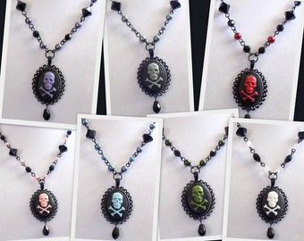 SALE 50% OFF - Toxic Skull & Crossbones Cameo Necklace - Your Choice of Color