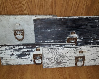 Vintage weathered drawer front w/ rusted horsehoe pulls
