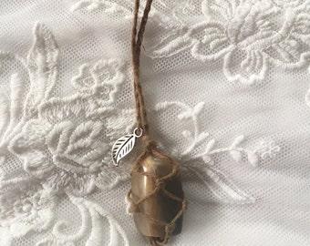 Grey Moonstone Hemp Necklace
