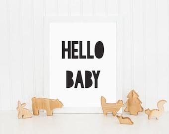 Hello Baby Print, Monochrome Print, Kids Print, Kids Bedroom Print, Childrens Wall Art, Nursery Art, Wall Decor, Black and White Print