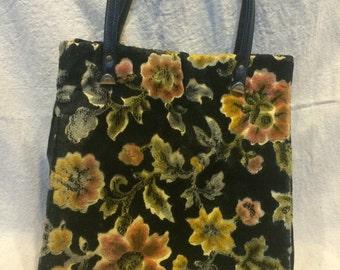 vintage floral carpet bag tote purse