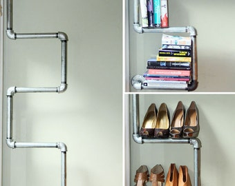 Industrial Pipe Bookshelf & Shoe Rack - LIMITED TIME SPECIAL!