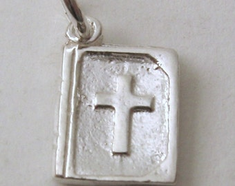 Genuine SOLID 925 STERLING SILVER 3D Bible Religion charm/pendant