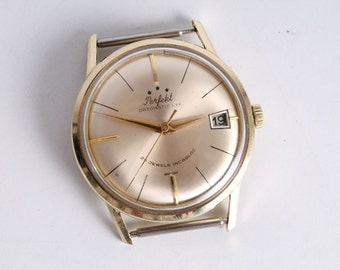 Vintage Perfekt Datomatic Lyx 14K Gold Wrist Watch With Date.