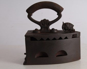 Antique Old Hand Forged Cast Iron Sad Charcoal Clothes Iron.